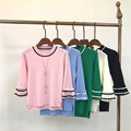 Spring and Summer 2017 Women Silk Knitted Shirt Three Quarter Sleeve O-neck Sweater Pink, Black , Blue Pullovers Female