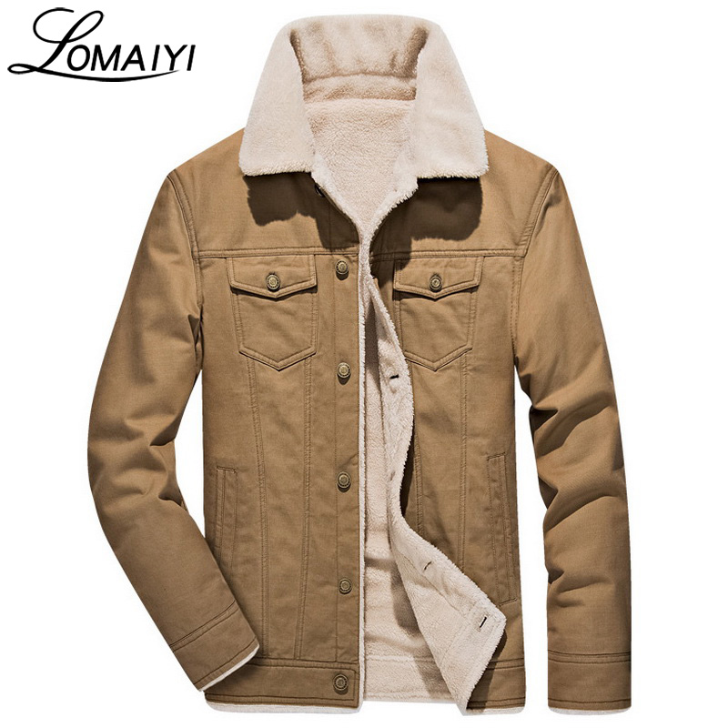 LOMAIYI Brand Pashm Warm Thick Men Jacket 2017 Winter Fashion Wool Coat Army Military Style Men's Windbreaker Jackets,BM060
