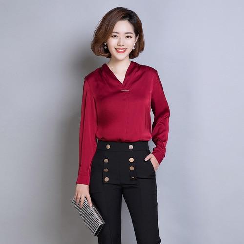 308222194ea2bf TingYiLi V neck Satin Silk Blouse Shirt Korean Elegant Office Ladies Tops  Long Sleeve Black White Beige Red Green Blouse Women-in Blouses & Shirts  from ...