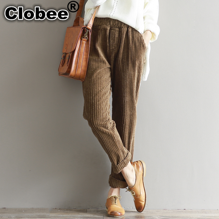 f81fffb4c6a Detail Feedback Questions about 2018 autumn and winter new art retro  elastic waist thickening loose women harem pants corduroy trousers femme  baggy pants on ...