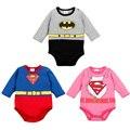 Superhero Mameluco Infantil 2017 Otoño Bebé Trajes de Estilo de Los Mamelucos Del Invierno Muchacha Del Muchacho de Algodón Superhéroe Superman Batman Mameluco
