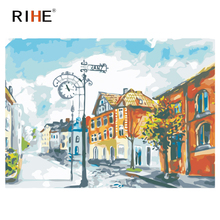 RIHE Street House Diy Painting By Numbers Town Oil On Canvas Hand Painted Cuadros Decoracion Acrylic Paint Home Decor