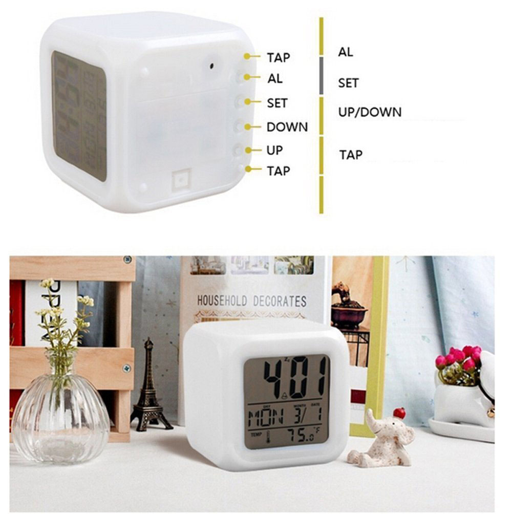 Image 2 - Colorful Changing Digital LED Alarm Clock No Batter Bathroom Home Night Glowing Cube Led Clock USB Charge DropShipping TSLM1-in Alarm Clocks from Home & Garden