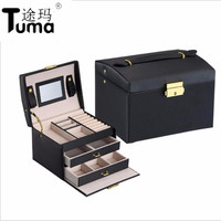 Three Layers 2018 Classical High Quality Leather Jewelry Box Jewelry Exquisite Makeup Case Jewelry Organizer Fashion Gift Box
