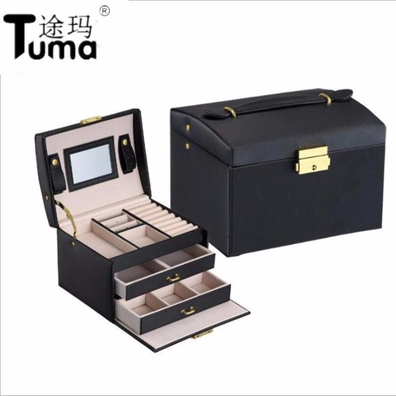 Tres capas 2018 clásico de cuero de alta calidad de caja de joyería exquisita maquillaje caso organizador de la joyería de moda de la caja de regalo