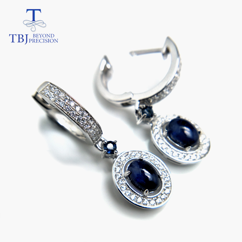 TBJ Hot sale classic clasp earring with natural blue sapphire precious gemstone jewelry in 925 sterling