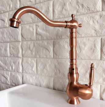 Swivel Spout Water Tap Antique Red Copper Single Handle Single Hole Kitchen Sink & Bathroom Faucet Basin Mixer Tap anf407 vintage copper sink faucet water tap