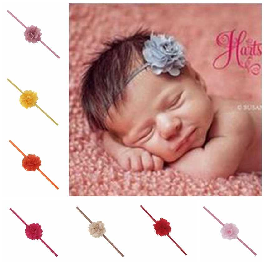 New Newborn Headbands Chiffon Flowers Hair Accessories For Children Satin Mesh Flower Elastic Baby Girl Headbands With 16 Colors