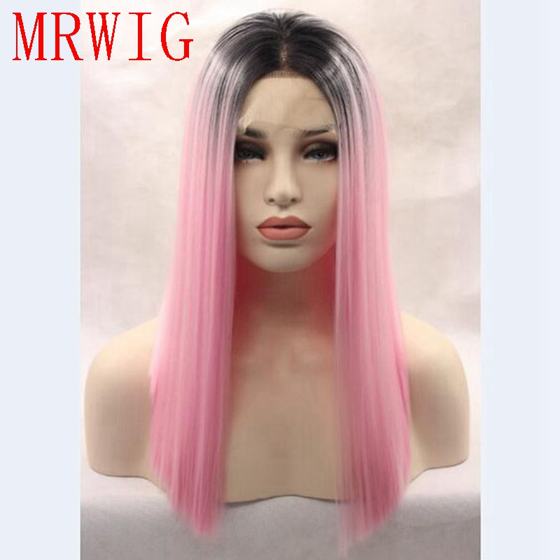 MRWIG short bob straight middle part 1b#/pink 14in real hair short dark roots for woman 260g