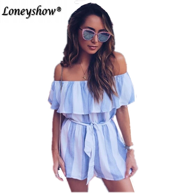 334834af03 Off shoulder stripe elegant jumpsuit romper White strap backless bow overalls  Sexy summer beach playsuit women