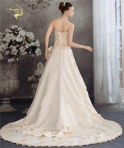 Image 2 - Женское свадебное платье с аппликацией из бисера, атласное ТРАПЕЦИЕВИДНОЕ кружевное платье цвета шампанского с аппликацией, лето 2020
