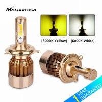 MALUOKASA 2 Adet C6 Araba H4/9003/HB2 Hi/Lo Bi-renk LED Far Ampul H1 H3 H7 H8/H11 9005/HB3 9006/HB4 Oto LED Lamba Sarı/Beyaz
