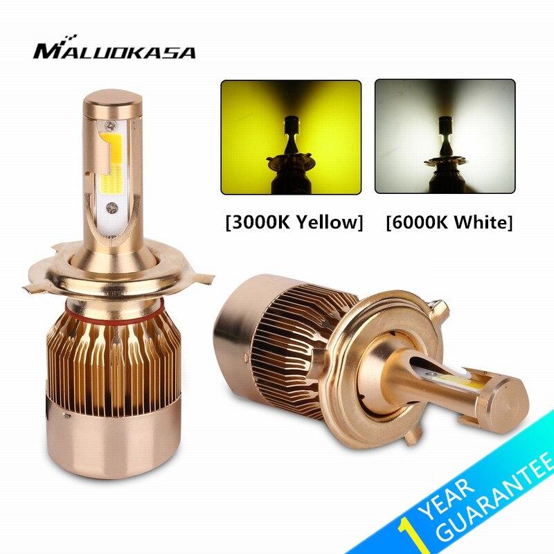 MALUOKASA 2PCs C6 Car H4/9003/HB2 Hi/Lo Bi-color LED Headlight Bulb H1 H3 H7 H8/H11 9005/HB3 9006/HB4 Auto LED Lamp Yellow/White