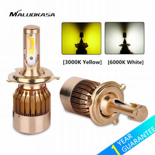 MALUOKASA 2PCs C6 Car H4/9003/HB2 Hi/Lo Bi-color LED Headlight Bulb H1 H3 H7 H8/H11 9005/HB3 9006/HB4 Auto LED Lamp Yellow/White