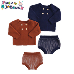 2020 spring Newborn Baby Girls Boys Knitted Clothes Sets Infant Kids Knit Sweater Cardigan+PP Shorts 2 Pcs Set Outfits