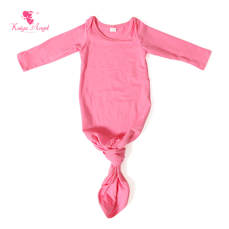 2017 Baby Gown Dark Pink Cotton Newborn Sleeping Bag Infant Baby Gown Hot Sale Spring Bow