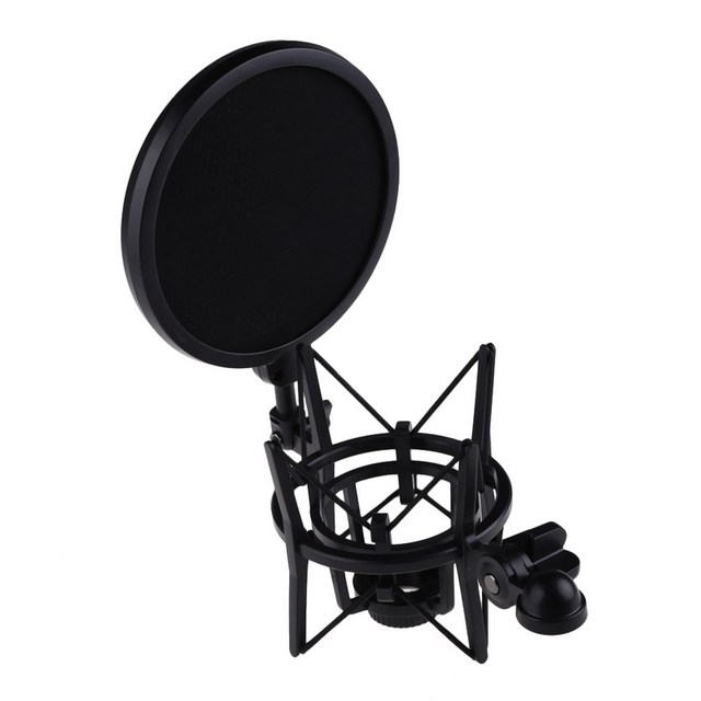 100% Brand new and high quality Microphone Mic Professional Shock Mount With Pop Shield Filter Screen