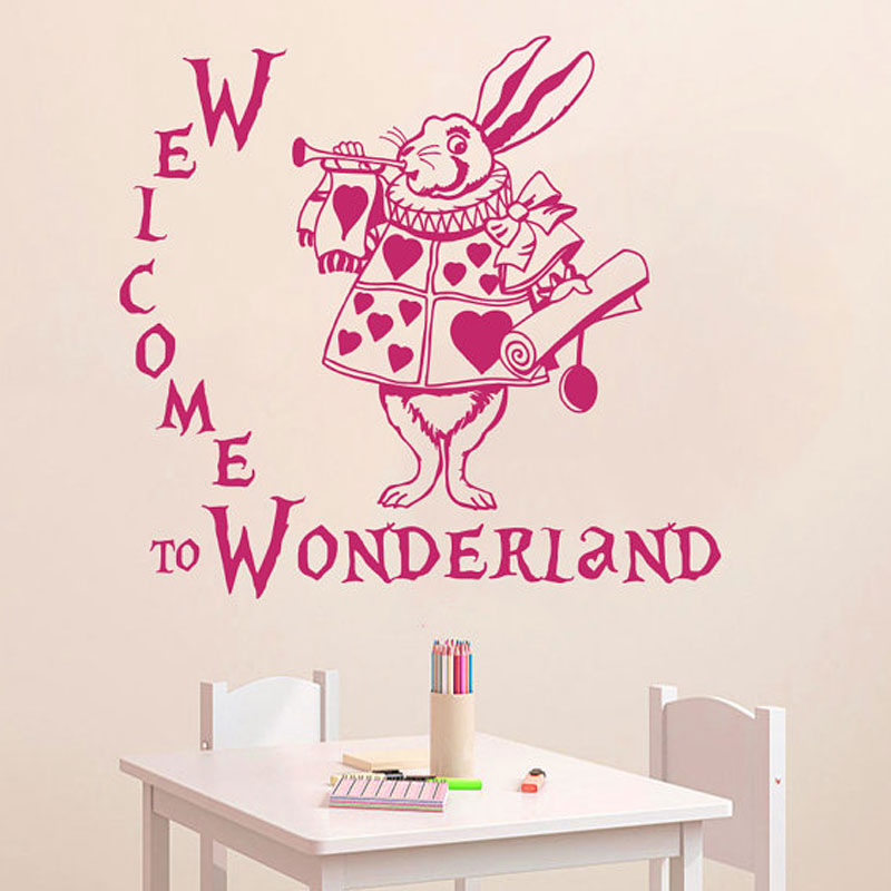 Wall Decal Quote Welcome to Wonderland Rabbit Sayings Alice in Wonderland Baby Room Kids Vinyl Sticker Home Decor Mural B676