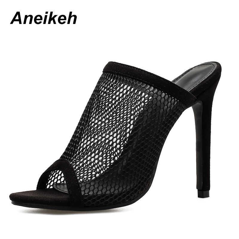 ... Aneikeh Summer Open Toe Sandals Women Mule Slides Mesh Hole Cut Out  Hollow Stilettos High Heels ... 700db078c379