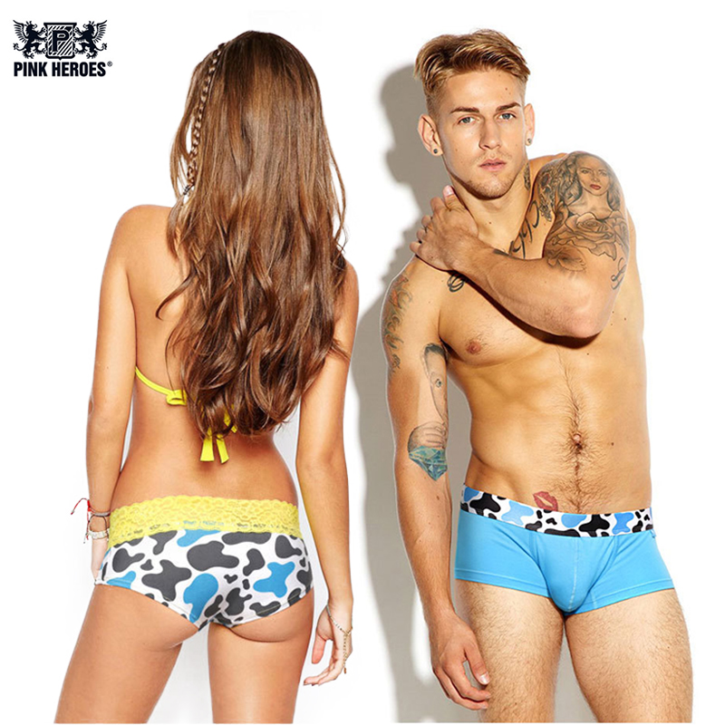 Pink Hero Lovers Underwears Sexy Animal Mens Boxer Cotton Breathable Women Lingerie Lace Lady Underpants Cueca Couple Panties