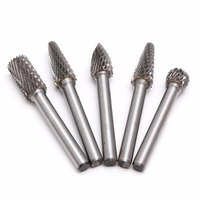 5Pcs 1 4 Tungsten Carbide Burr Bit 6mm Rotary Cutter Files CNC Engraving Tool