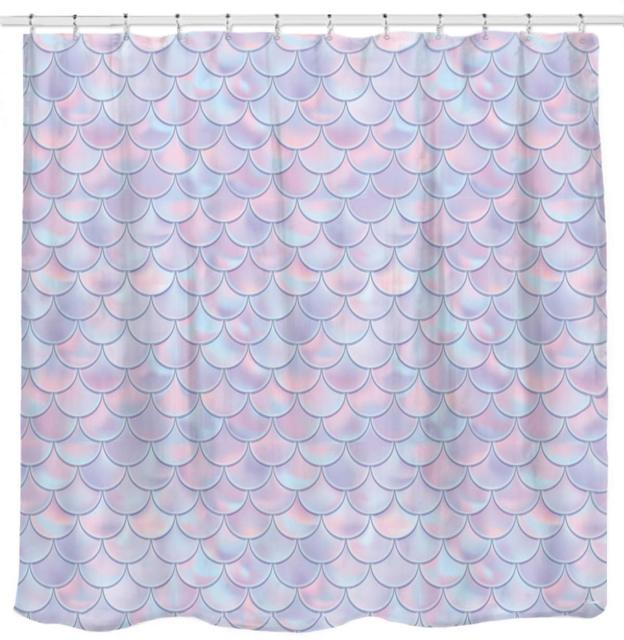 3D Mermaid Scales Shower Curtain Lilac Purple Pink Blue Ocean Theme Bathroom For Girls Bedroom Wall Decortation