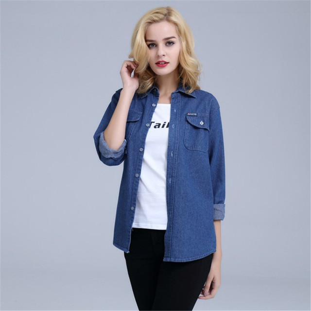 Plus Size Denim Shirt Women Thin Summer Pockets Casual Long Sleeve Jeans Blouse Button Solid Cotton Blusa Bluzki Damskie Ds50601 1