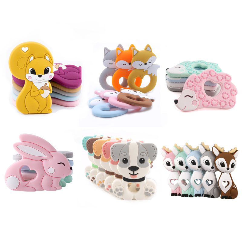 Tiny Rod Bpa Free Food Grade Silicone Teethers Cartoon Animals Shape Pacifier Clips Diy Accessories Baby Teething 1pc Let's Make