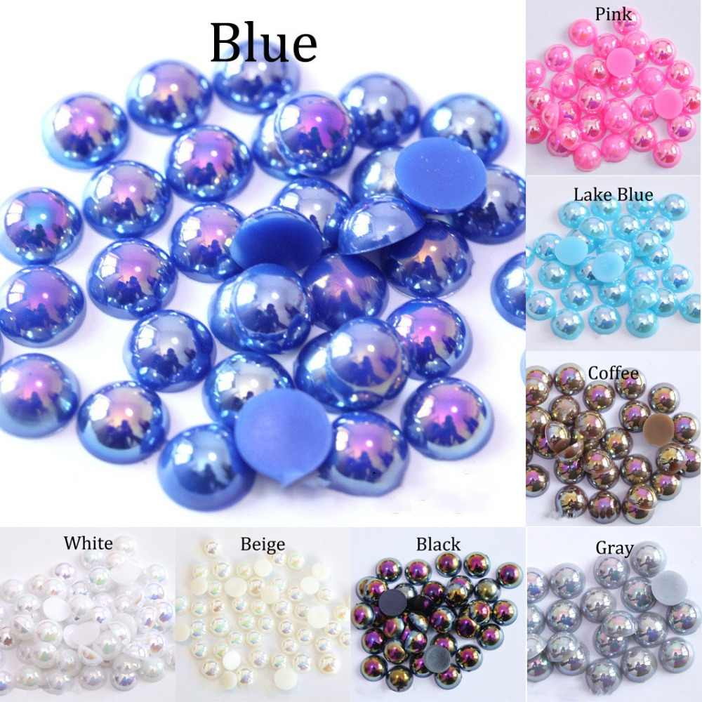 ABS Imitation Pearl Beads Flat Back 2 3 4 5 6 8 10 12 14 mm AB Colors Cabochon Half Round Bead Scrapbook Decoration DIY Accessor