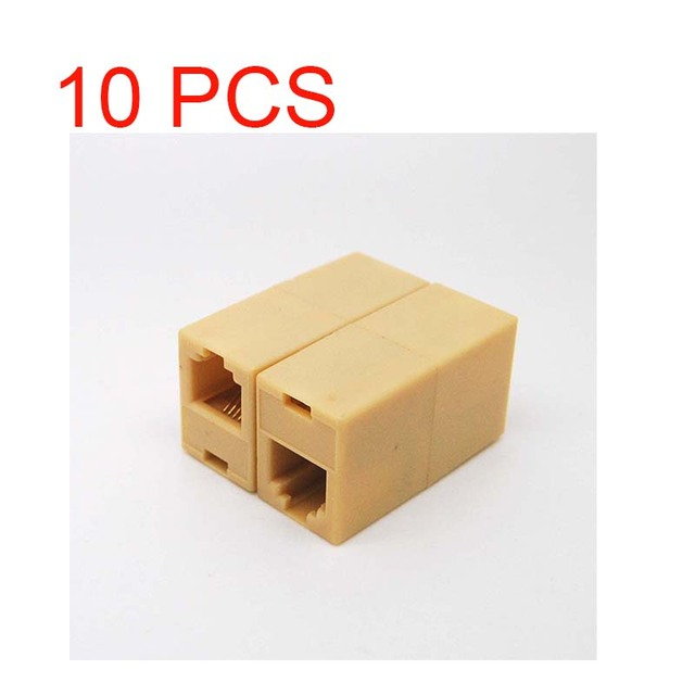 10 pces RJ 11 linha de telefone cabo acoplador conector adaptador de soquete ad01