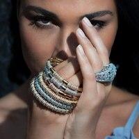 GODKI New Luxury Sparkling Full AAA Cubic Zirconia Geometry Design Women Bracelet Bangle And Ring Set