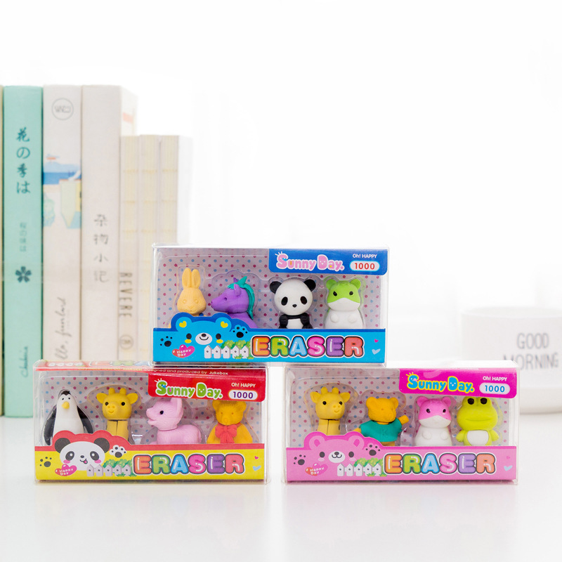 4 Pcs/pack Cartoon Animal Erasers Cute Panda Writing Drawing Rubber Pencil Eraser Stationery For Kids Gifts School Supplies