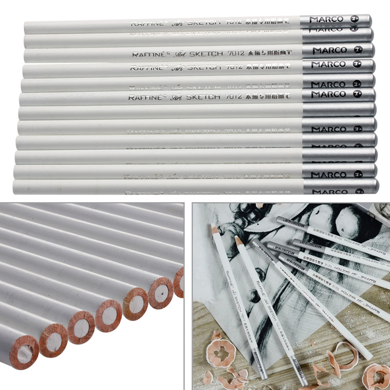 12pcs White Fine Art Drawing Non-toxic Base Pastel Pencils Set For Artist Sketch chalk 10pcs pack korea colorful chalk dust free chalk non toxic chalk