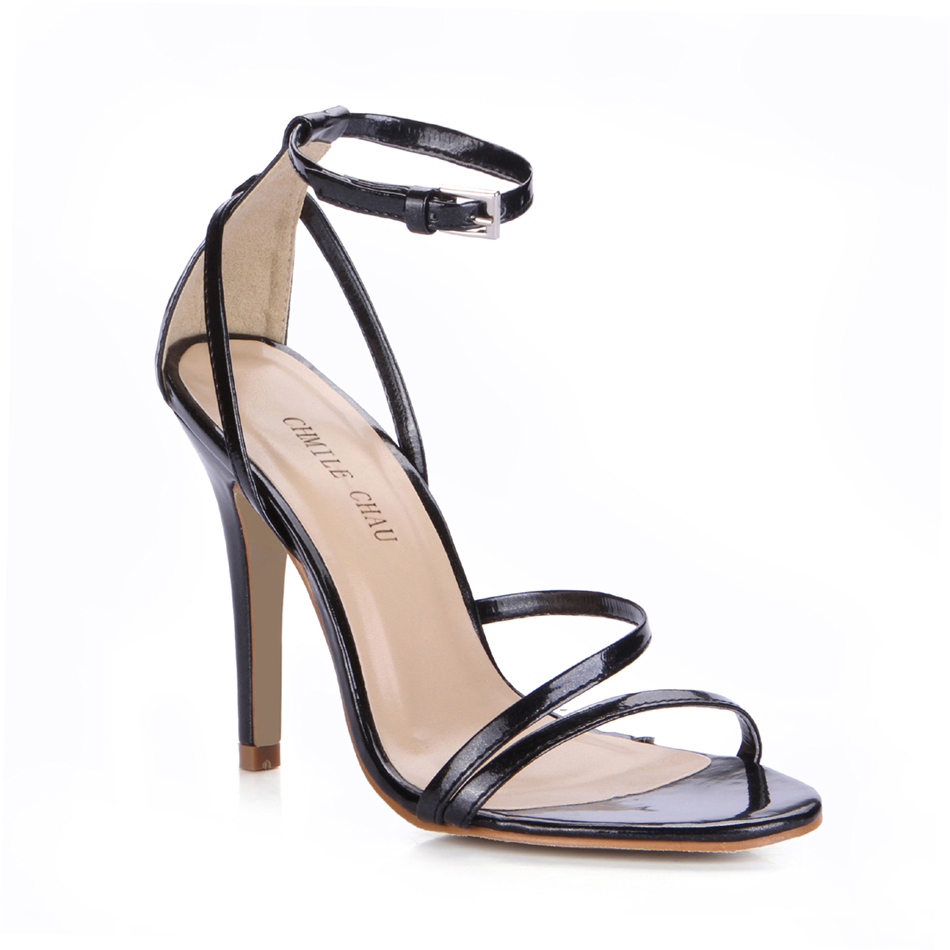 Sexy Patent Party Open Toe Stiletto Ankle Strap Women Sandal Chaussure Sandales Femmes Talon Haut Aiguille Fete Soiree YJ5186 9a in High Heels from Shoes