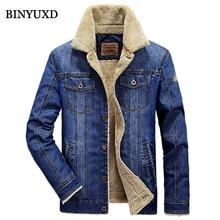 BINYUXD Jacke Männer Winter Jeans Wolle Dicken Warmen Vintage Marke Kleidung Anzüge Denim Mann Mantel Dunkelblau M-4XL