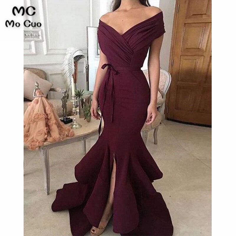 2019 bourgogne sirène robes de bal longue Vestido Longo plissé avant fente élastique Satin formel soirée robe de soirée pour les femmes