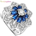 Yunkingdom Exaggerated ring gold plated wedding rings for women dark blue zirconia jewelry ALP0795