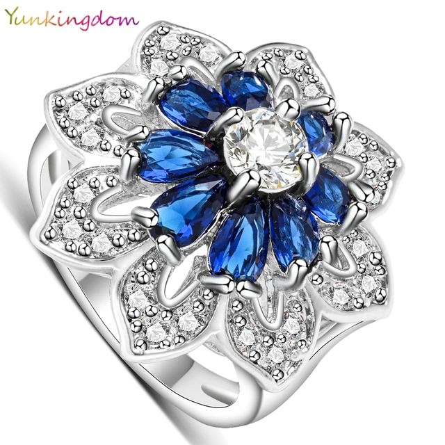 Yunkingdom Exaggerated ring white gold color wedding rings for women dark blue zirconia jewelry ALP0795