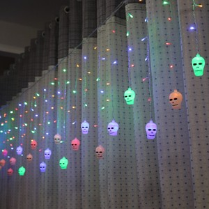 Image 2 - LYFS 3.5M 96 LED Halloween Curtain Light Strings Skull Style Holiday Lighting Bedroom Living Room Halloween Atmosphere Decor