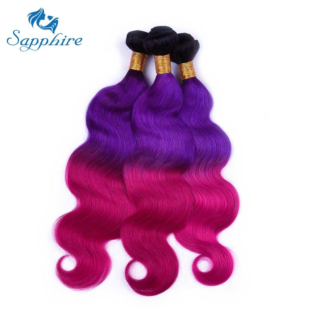 Сапфир бразильский TB/фиолетовый/розового цвета человеческих волос 4 Связки объемная волна человеческих волос ломбер 16 -28 Три Цвет Связки ...