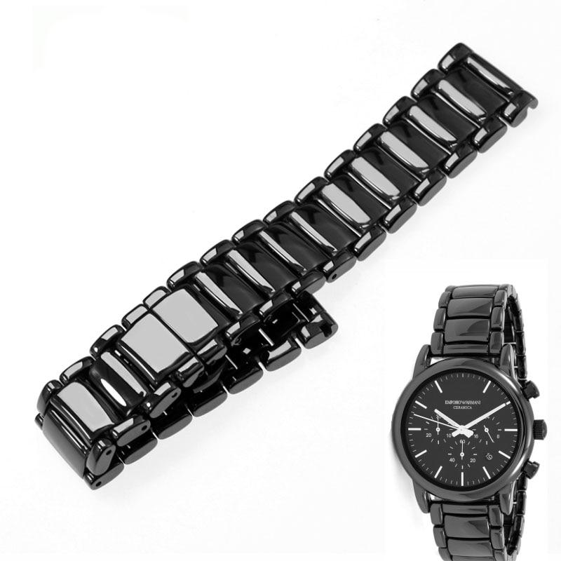 Image 2 - 22mm black high grade bright ceramic strap bracelet watchbands for Armani watch AR1507 AR1509 AR1499 ceramic watch-in Watchbands from Watches