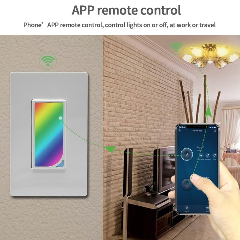 US Wifi Smart Home Light Dimmer Switch LED RGB Scene 1200 Colors Light Switch Compatible with Smart Life Tuya Google Home Alexa in Home Automation Modules from Consumer Electronics