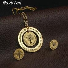 MUYBIEN High-quality Fashion Beautiful Circles Pendant Jewelry Sets Design Necklace Earrings Set For  Women/Man SBJKAECF