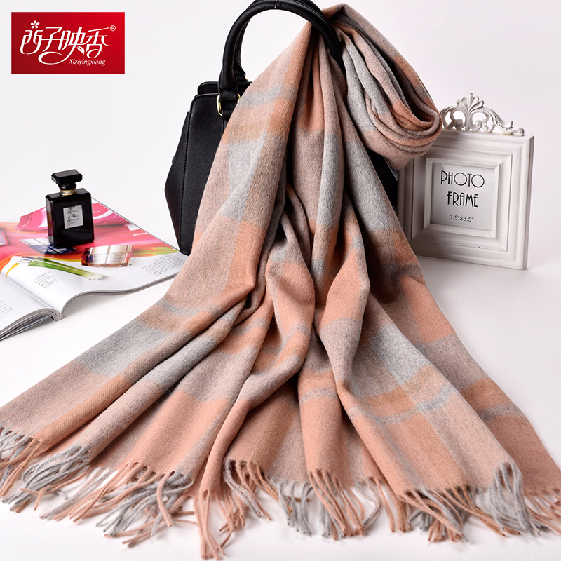 Women Thicken Warm   Scarves   Wool Cashmere   Scarf   Plaid 2018 Luxury Winter   Scarf   Female   Wrap   Pashmina Tassels Solid Color   Scarf