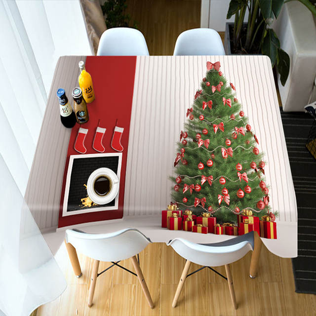 New Table Cloth Colorful Christmas Tree Pattern Washable Cotton Thicken Rectangular Round Dining