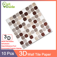 10pcs Wall paper 3D Marble mosaic Brick Self-Adhesive Stickers Waterproof DIY Kitchen Bathroom Home PU