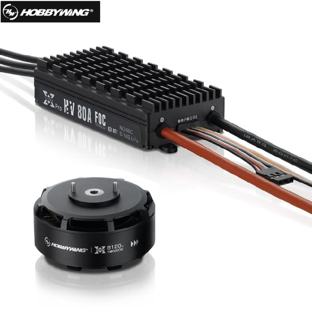 Hobbywing XRotor FOC Power System Combo <font><b>Brushless</b></font> 8120 <font><b>100KV</b></font> <font><b>Motor</b></font> & HV 80A FOC V3 ESC for FPV Racing Quadcopter image