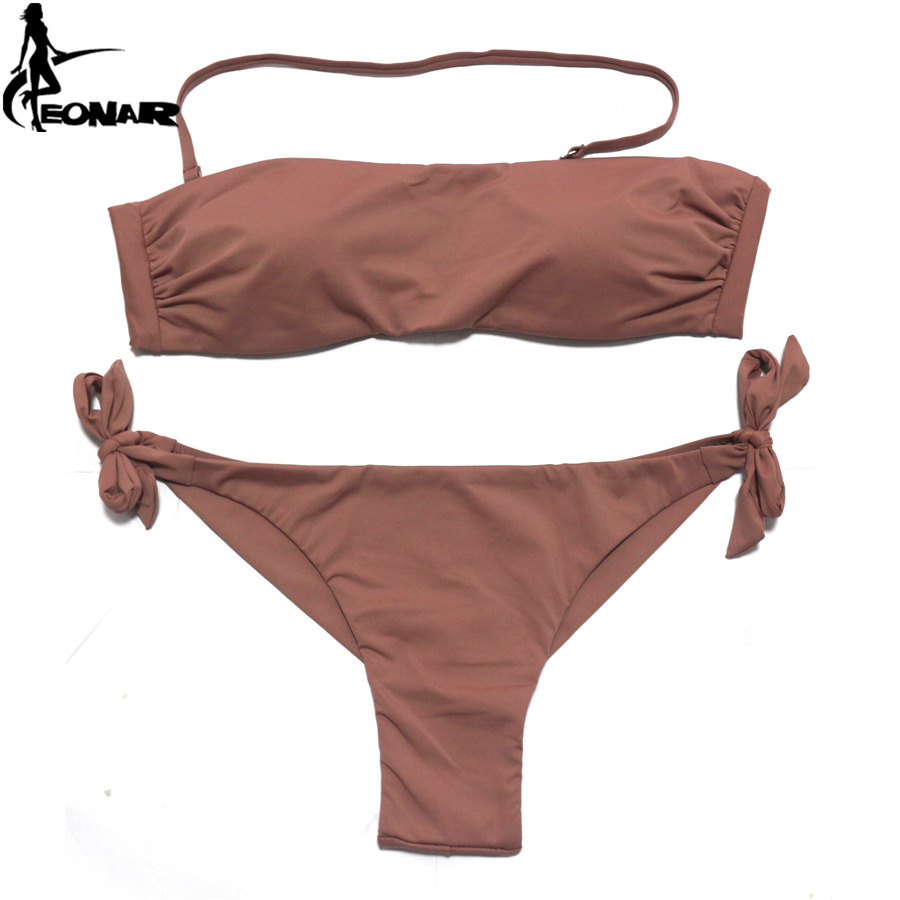 Bikini-set Eonar Bikini 2019 Solide Frauen Badeanzug Brazilian Cut Bottom Bikini Set Push Up Bademode Femme Badeanzüge Sport Strand Tragen