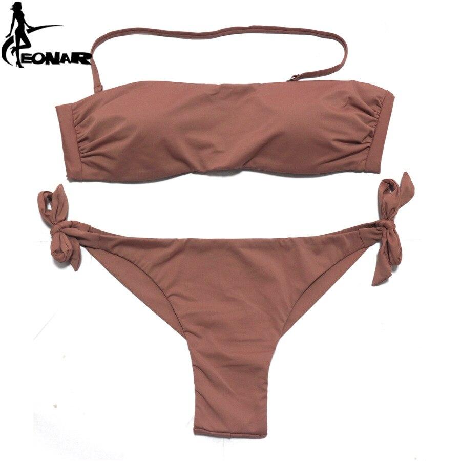 EONAR Bikini 2020 Solid Women Swimsuit  Brazilian Cut Bottom Bikini Set Push Up Swimwear Femme Bathing Suits Sport Beach Wear