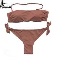EONAR Bikini 2019 Solid Women Swimsuit Brazilian Cut Bottom Bikini Set Push Up Swimwear Femme Bathing Suits Sport Beach Wear